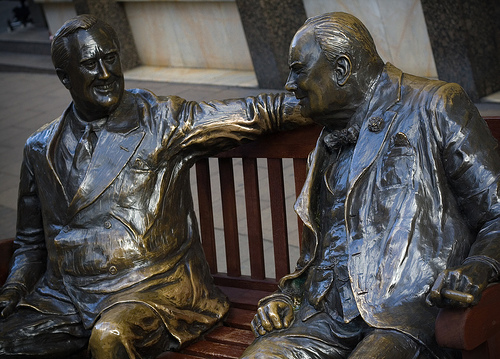 Bronze Statue of Winston Churchill and Franklin D. Roosevelt